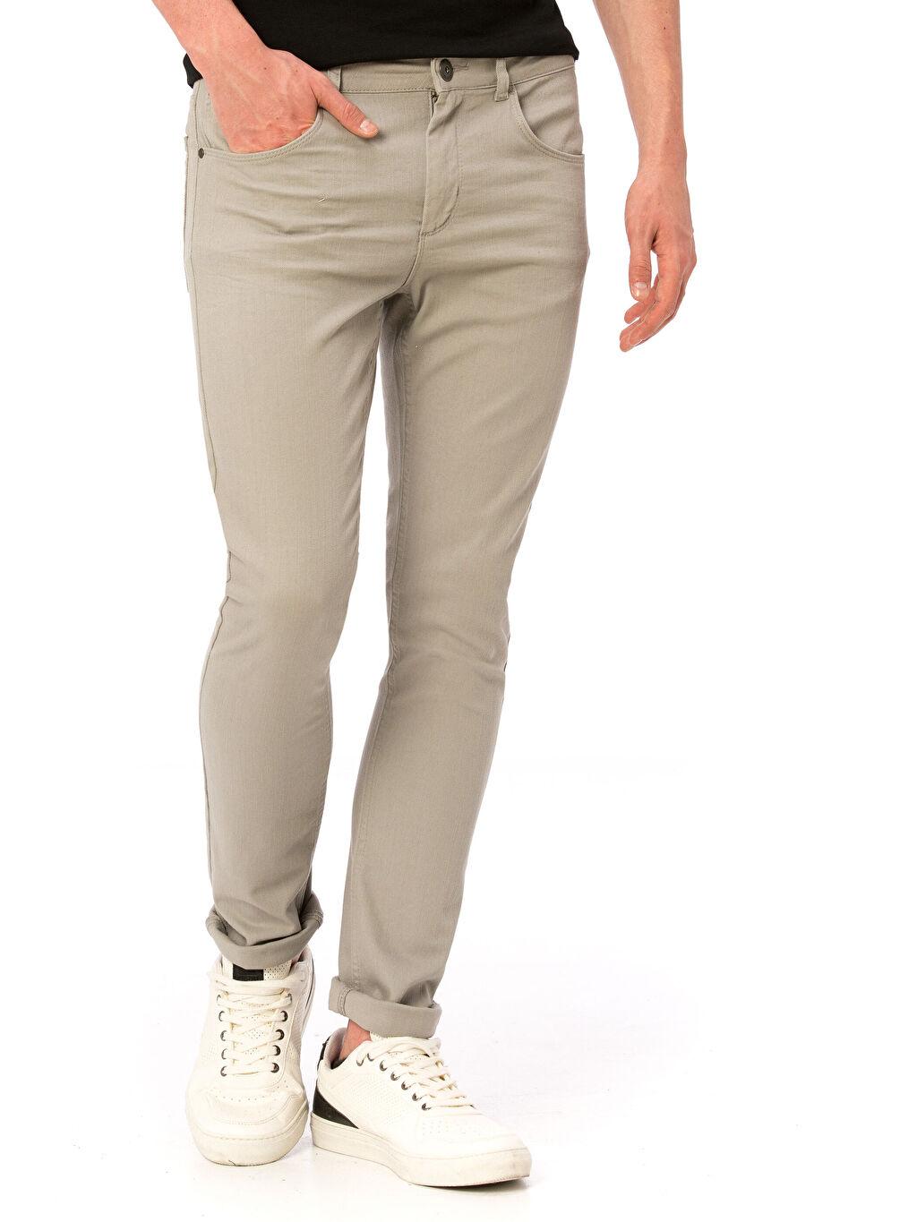 Normal Bel Dar Pantolon Gabardin Beş Cep Aksesuarsız Gabardin Slim Pantolon