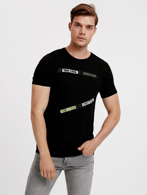 Siyah Slogan Detaylı Tişört 8SK612Z8 LC Waikiki