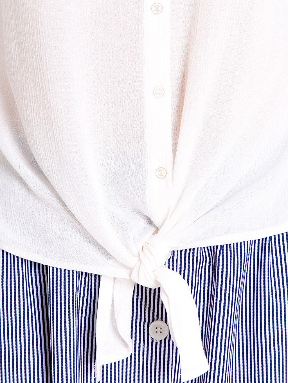 %100 Viskoz Önden Bağlamalı Viskon Gömlek