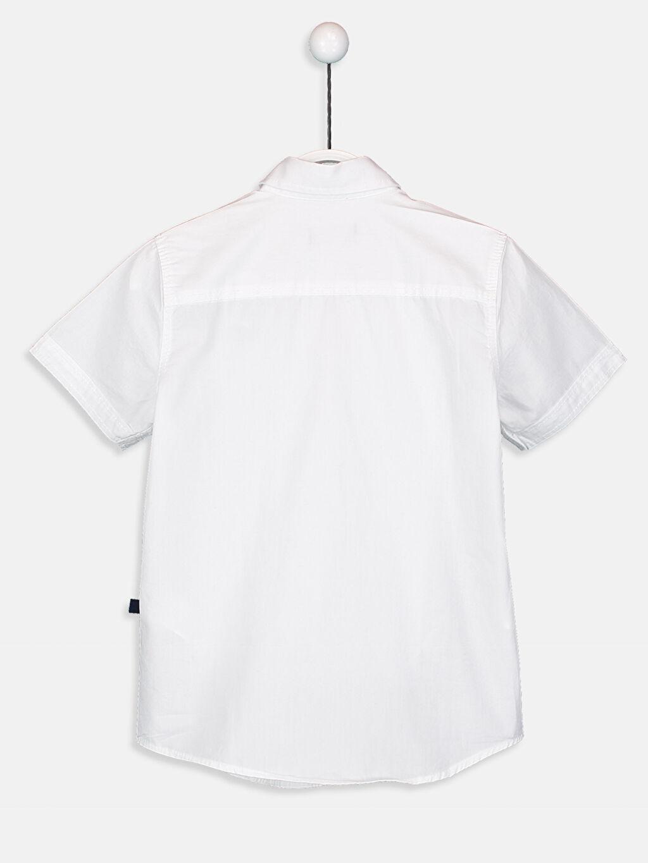 %100 Pamuk Kısa Kol Poplin Aksesuarsız Gömlek Standart Kısa Kollu Poplin Gömlek