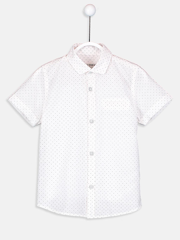 %100 Pamuk %100 Polyester Kısa Kol Gömlek Standart Baskılı Poplin Gömlek ve Papyon