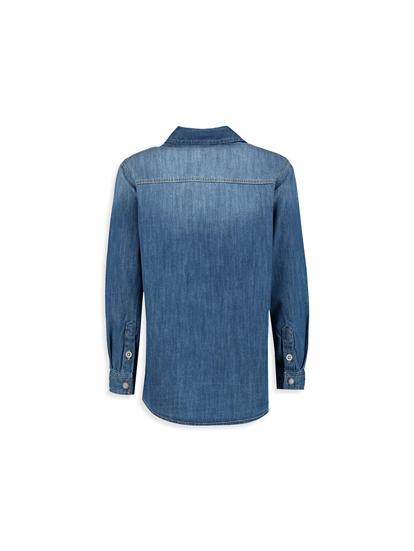 %100 Pamuk Jean Gömlek Aksesuarsız Astarsız Uzun Kol Düz Standart Fermuarlı Jean Gömlek