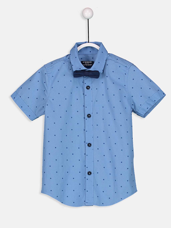 Mavi Kısa Kollu Baskılı Poplin Gömlek ve Papyon 8SN223Z4 LC Waikiki