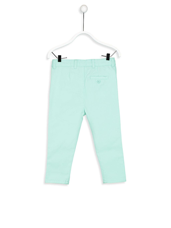 %100 Pamuk Pantolon Askı Düz Saten Normal Bel Astarsız Dar Erkek Bebek Chino Pantolon