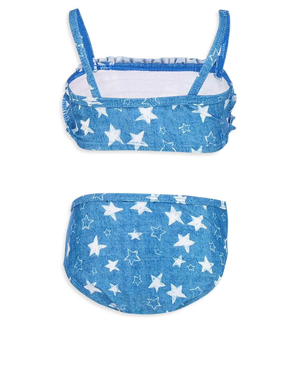 %83 Polyester %17 Elastan %100 Polyester Aksesuarsız Standart Baskılı Bikini Kız Bebek Desenli Fırfır Detaylı Bikini Takımı