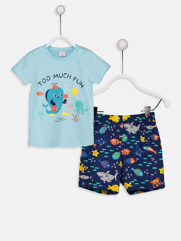 Turkuaz Erkek Bebek Şortlu Pijama Takımı 8SB171Z1 LC Waikiki