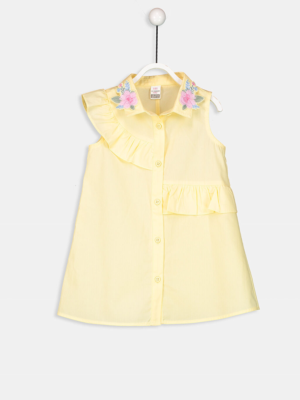 Sarı Kız Bebek Nakış Detaylı Poplin Elbise 8SB674Z1 LC Waikiki