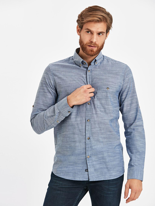%100 Pamuk Gömlek Düğmeli Gömlek Yaka Poplin Standart Patlı Uzun Kol Düz Regular Fit Uzun Kollu Poplin Gömlek