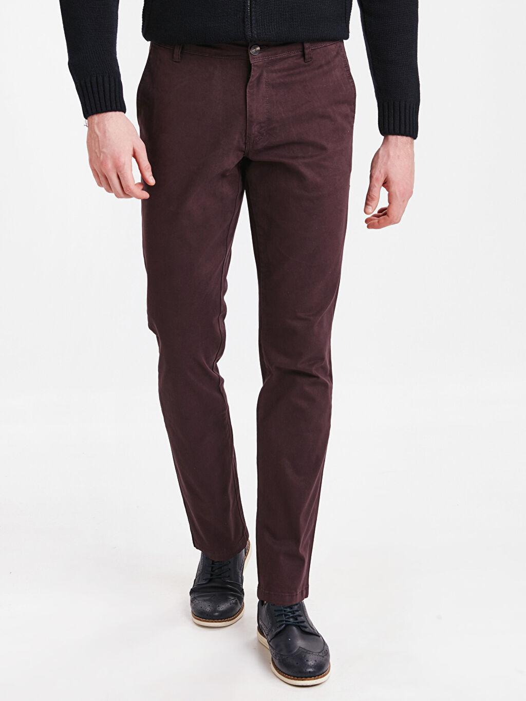 %97 Pamuk %3 Elastan Chino Pantolon Skinny Ekstra Dar Kalıp Chino Pantolon