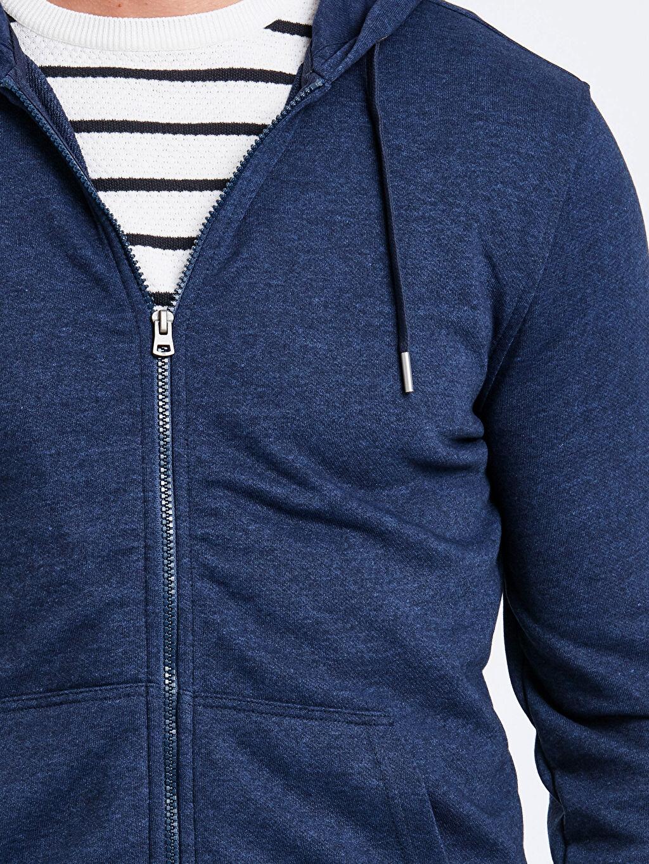 %44 Pamuk %56 Polyester Fermuarlı Kapüşonlu Sweatshirt