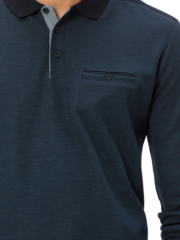 %51 Polyester %22 Viskoz %27 Akrilik Polo Yaka Uzun Kollu Tişört
