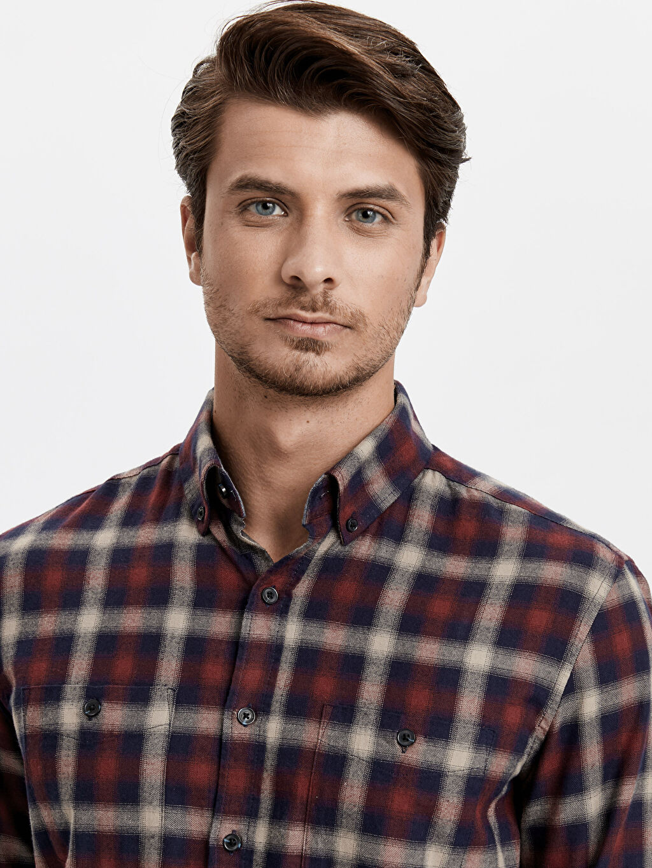 %100 Pamuk Regular Fit Ekose Uzun Kollu Gabardin Gömlek