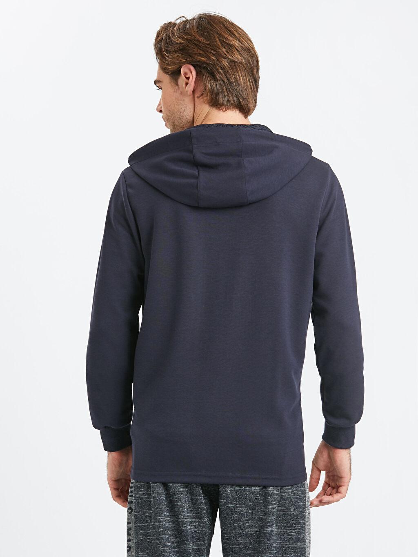 %50 Pamuk %50 Polyester İnterlok Spor Hırka Kapüşon Yaka Standart Kapüşonlu Fermuarlı Aktif Spor Sweatshirt