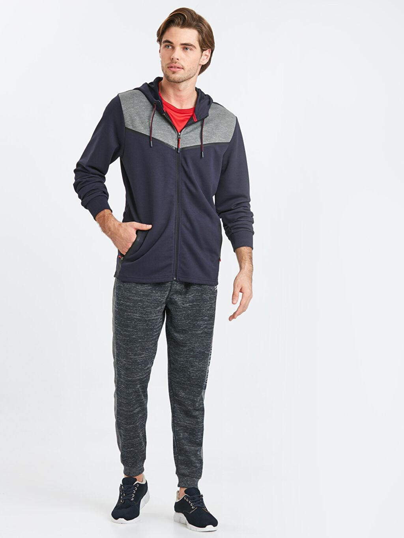 Erkek Kapüşonlu Fermuarlı Aktif Spor Sweatshirt