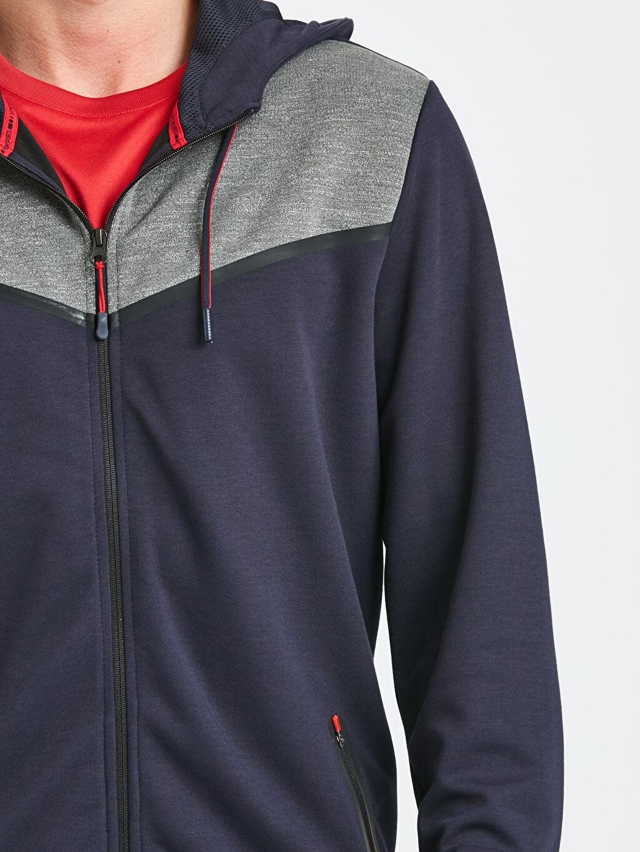 %50 Pamuk %50 Polyester Kapüşonlu Fermuarlı Aktif Spor Sweatshirt