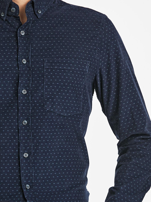 %100 Pamuk Regular Fit Desenli Uzun Kollu Kadife Gömlek