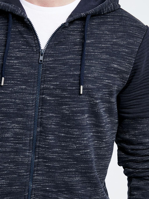 %79 Pamuk %21 Polyester Kapüşonlu Fermuarlı Sweatshirt