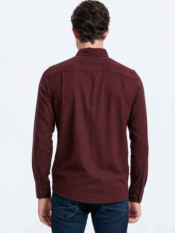 %100 Pamuk Patlı Uzun Kol Düz Düğmeli Gömlek Yaka Gömlek Standart Regular Fit Uzun Kollu Pamuklu Gömlek