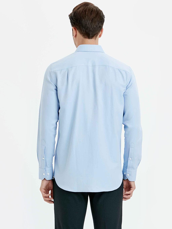 %60 Pamuk %40 Polyester Uzun Kol Düz Gömlek Standart Gömlek Yaka Balıksırtı Regular Fit Uzun Kollu Gömlek