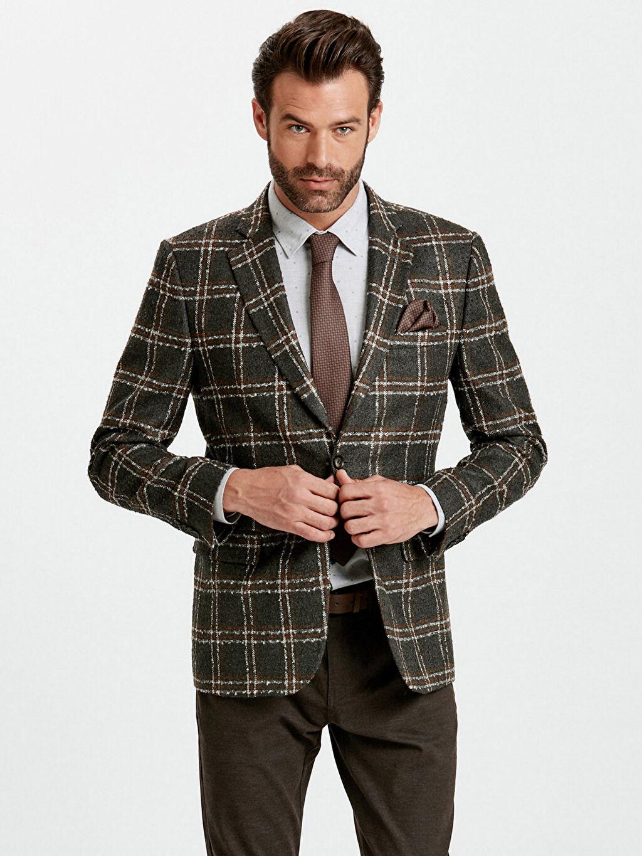 %39 Poliester %53 Akrilik %8 Viskoz %100 Polyester Blazer Ceket Yarım Astar Dar Dar Kalıp Ekose Ceket