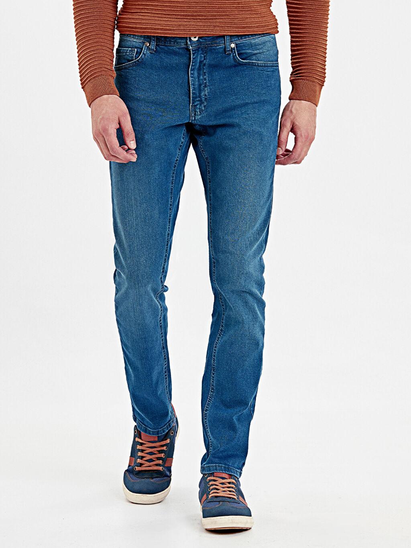 %99 Pamuk %1 Elastan Jean Normal Bel Dar 760 Slim Fit Jean Pantolon