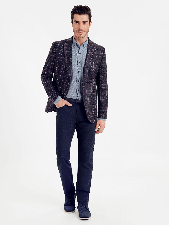 Erkek Standart Kalıp Ekose Yün Karışımlı Blazer Ceket