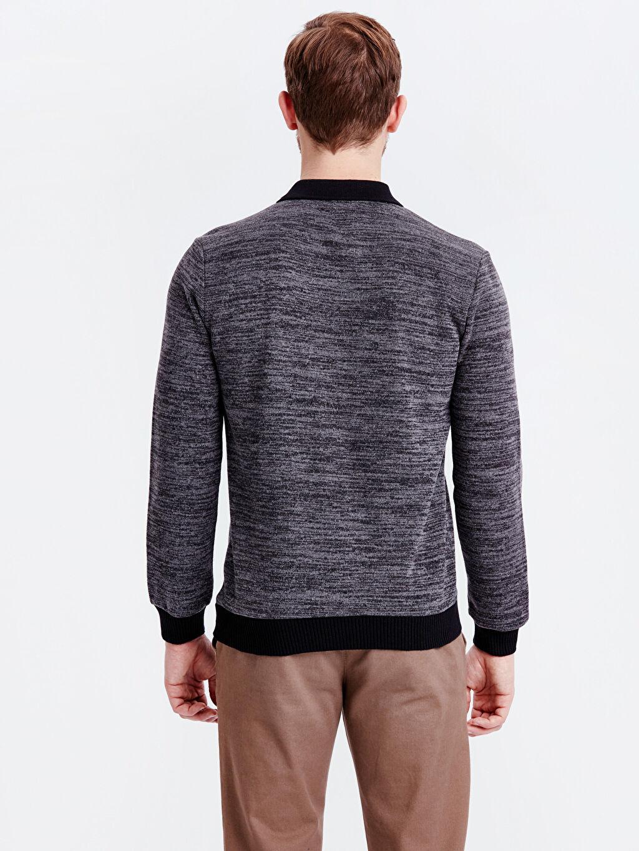 %53 Polyester %20 Viskoz %27 Akrilik Polo Yaka Sweatshirt Standart Polo Yaka Sweatshirt