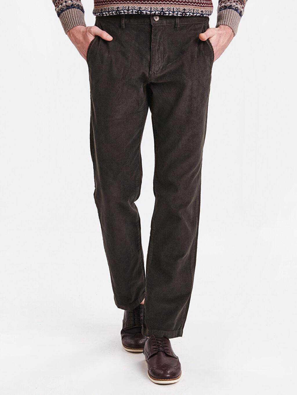 %100 Pamuk Rahat Kalıp Pantolon Geniş Kalıp Kadife Chino Pantolon