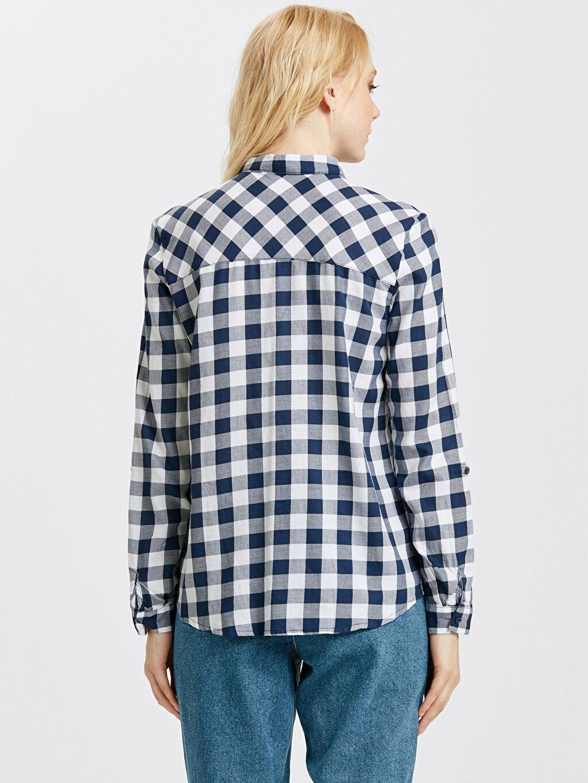 %100 Pamuk Uzun Kol Standart Gömlek Düz Ekose Poplin Gömlek