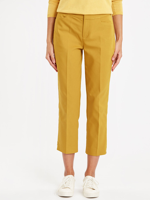%49 Pamuk %47 Polyester %4 Elastan Düz Bilek Boy Çift Yüzlü Kumaş Standart Pantolon Yüksek Bel Beli Lastikli Düz Paça Kumaş Pantolon