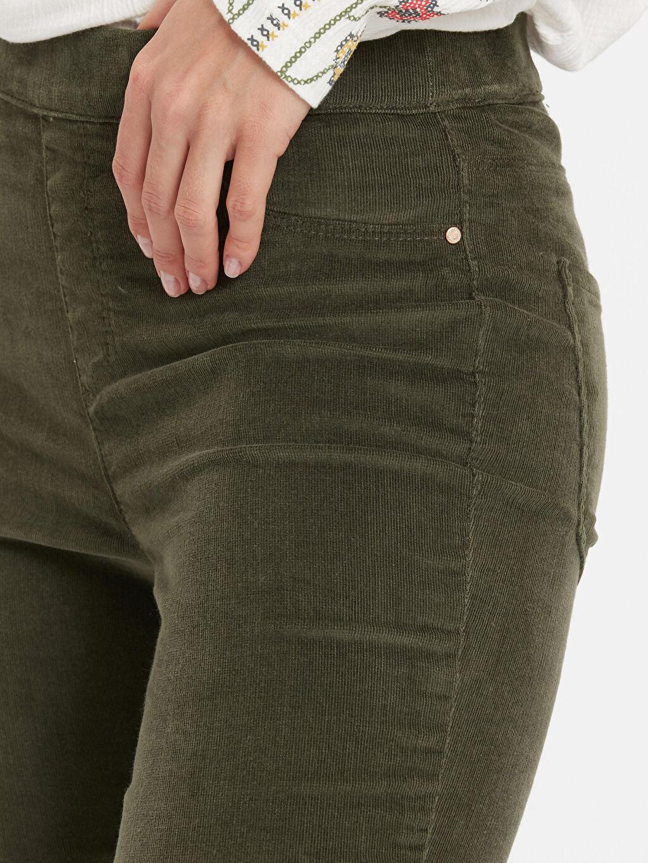 %80 Pamuk %18 Polyester %2 Elastan Beli Lastikli Kadife Pantolon