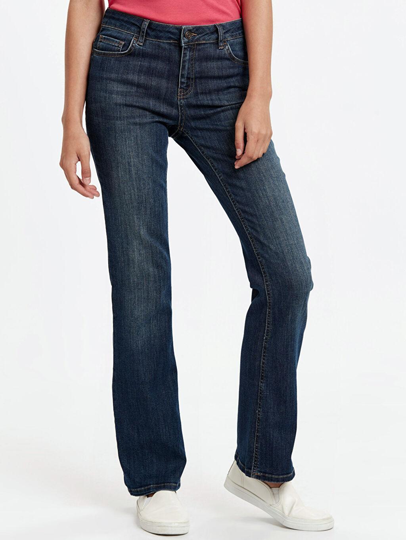 %69 Pamuk %29 Poliester %2 Elastane Standart Normal Bel Uzun Jean Çizme Paça Jean Pantolon