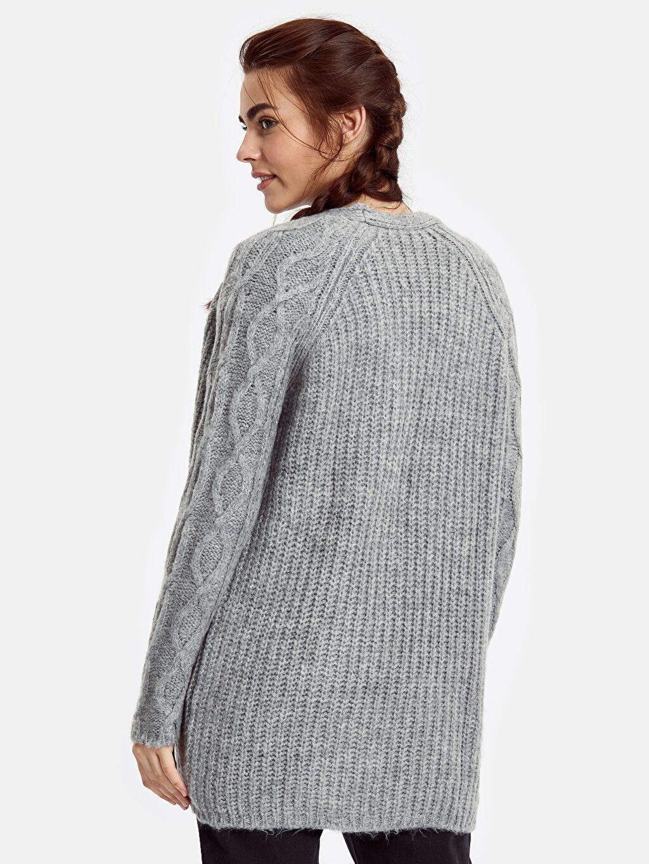 %79 Akrilik %21 Polyester Uzun Kol Uzun Orta Kalınlık Hırka Uzun Triko Hırka