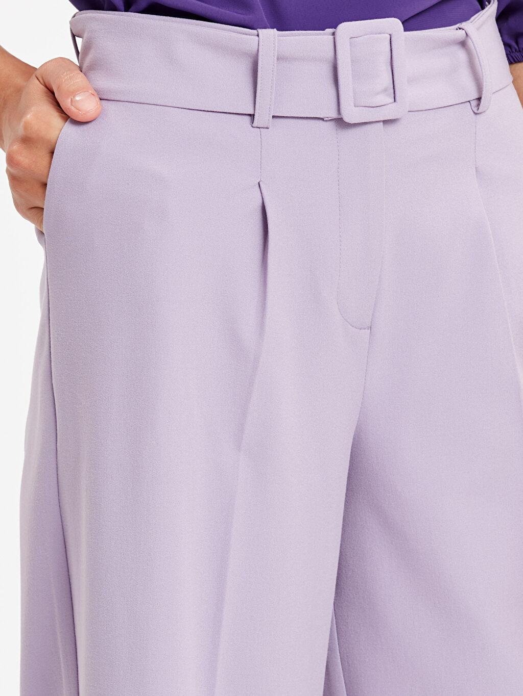 %62 Polyester %33 Viskon %5 Elastan Geniş Paça Kemerli Kumaş Pantolon