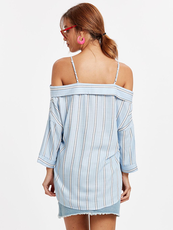 %100 Viskoz Gömlek Düz V Yaka Kısa Kol Standart Omuzları Açık Çizgili Viskon Gömlek