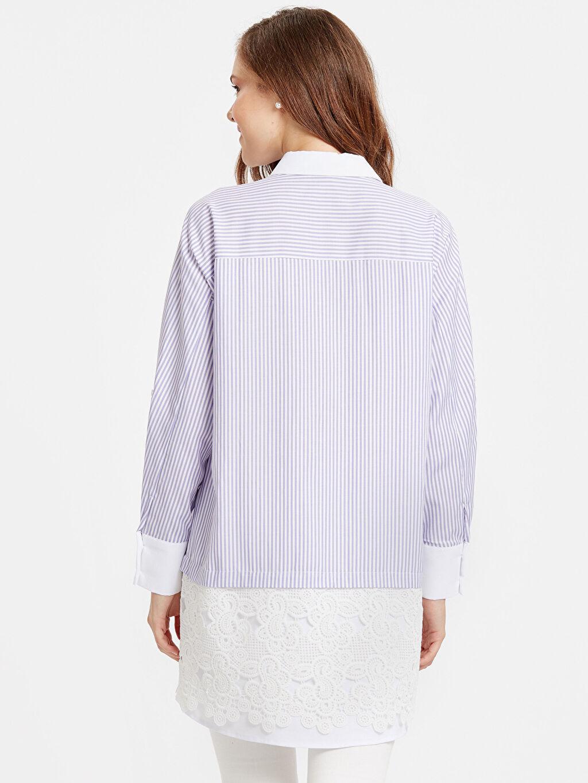 %70 Pamuk %27 Polyester %3 Elastan Tunik Çizgili Fisto Detaylı Çizgili Armürlü Gömlek