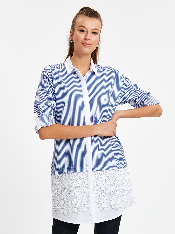 Mavi Fisto Detaylı Çizgili Armürlü Gömlek 8WJ373Z8 LC Waikiki