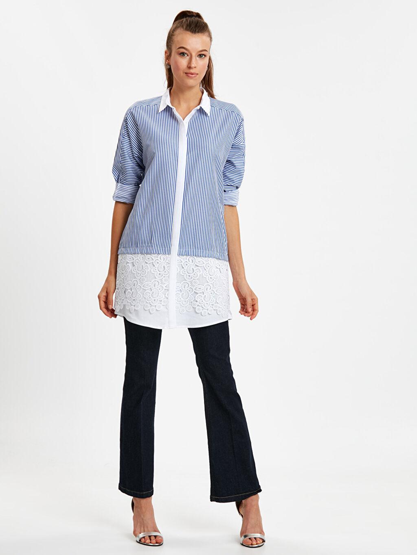 Kadın Fisto Detaylı Çizgili Armürlü Gömlek