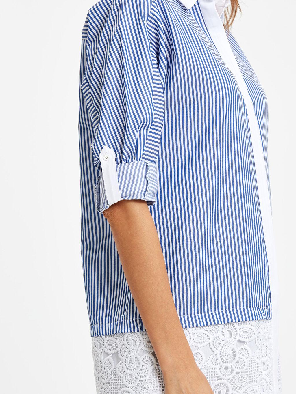 %70 Pamuk %27 Polyester %3 Elastan Fisto Detaylı Çizgili Armürlü Gömlek