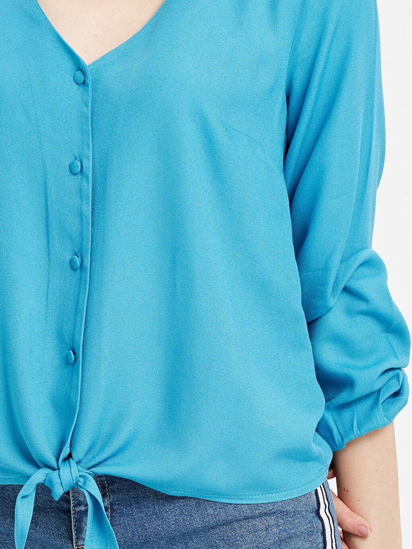 %100 Viskon Beli Bağlama Detaylı Krep Gömlek