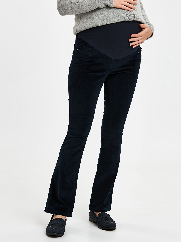 %98 Pamuk %2 Elastan Kalın Kadife Çizme Paça Pantolon Düz Çizme Paça Kadife Hamile Pantolon