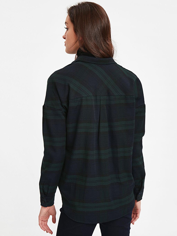 %49 Pamuk %51 Polyester Uzun Kol Düğmeli Gömlek Yaka Gömlek Ekose Düz Ekose Viskon Gömlek