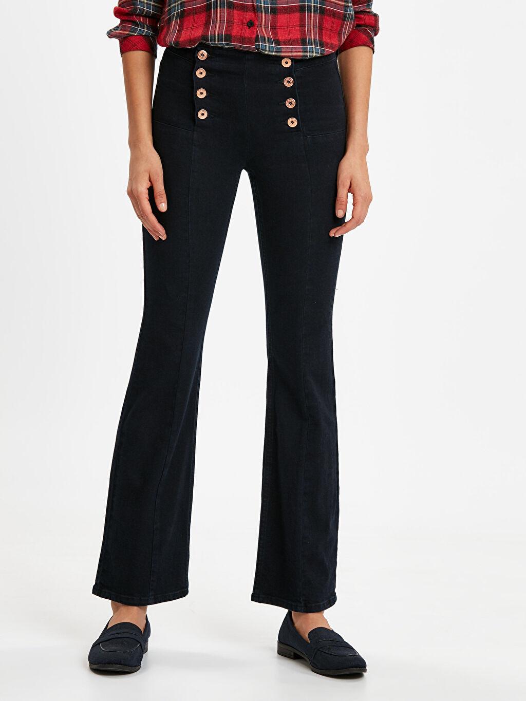%98 Pamuk %2 Elastan Jean Yüksek Bel Standart Uzun Beli Süs Düğme Detaylı Çizme Paça Jean Pantolon
