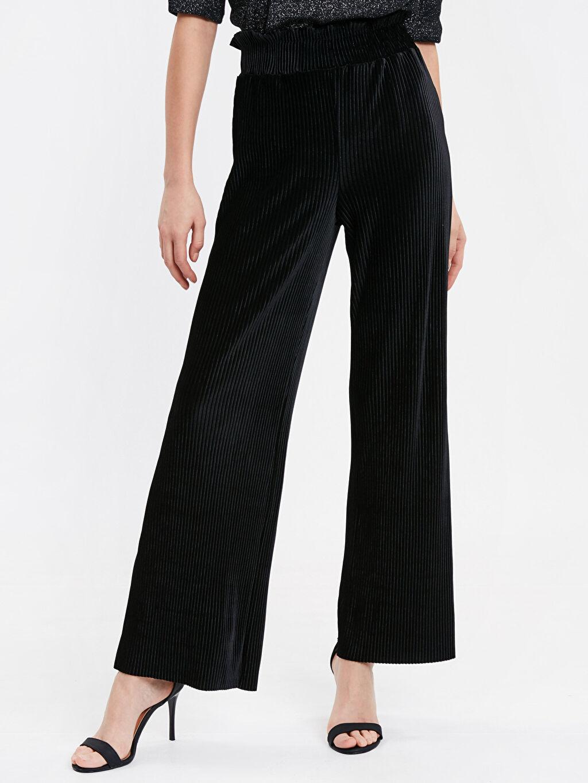 %91 Poliester %9 Elastane Kadife Standart Normal Bel Uzun Pantolon Geniş Paça Diğer Geniş Paça Beli Lastikli Salaş Kadife Pantolon