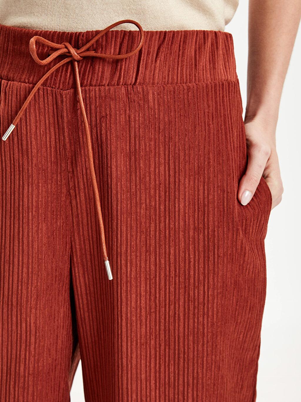 %96 Polyester %4 Elastan Beli Lastikli Geniş Paça Kadife Pantolon