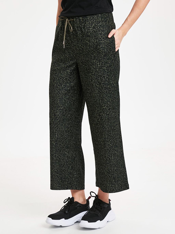 %96 Polyester %4 Elastan Pantolon Geniş Paça Düz Bilek Boy Yüksek Bel Kadife Bol Beli Lastikli Geniş Paça Kadife Pantolon