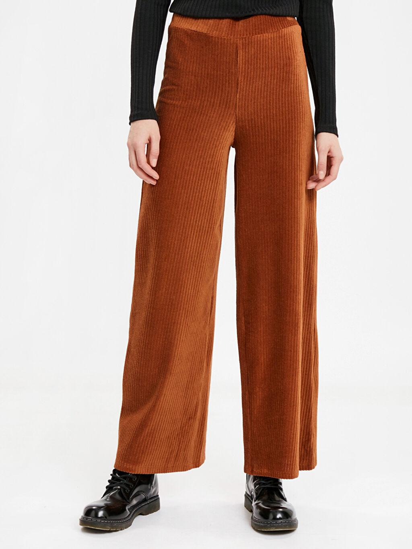 %73 Pamuk %26 Poliester %1 Elastan Standart Normal Bel Uzun Pantolon Beli Lastikli Fitilli Kadife Pantolon