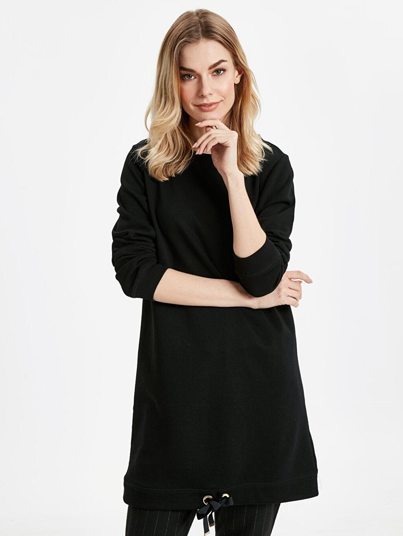 Siyah Uzun Basic Sweatshirt 8WP033Z8 LC Waikiki