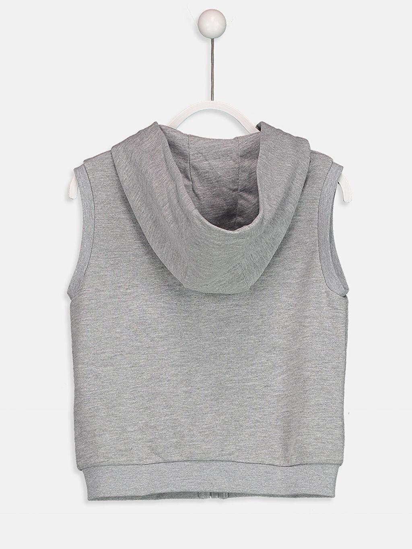 %57 Pamuk %43 Polyester Kalın Sweatshirt Kumaşı Yelek Orta Kalınlık Kapüşon Yaka Düz Kapüşonlu Fermuarlı Yelek