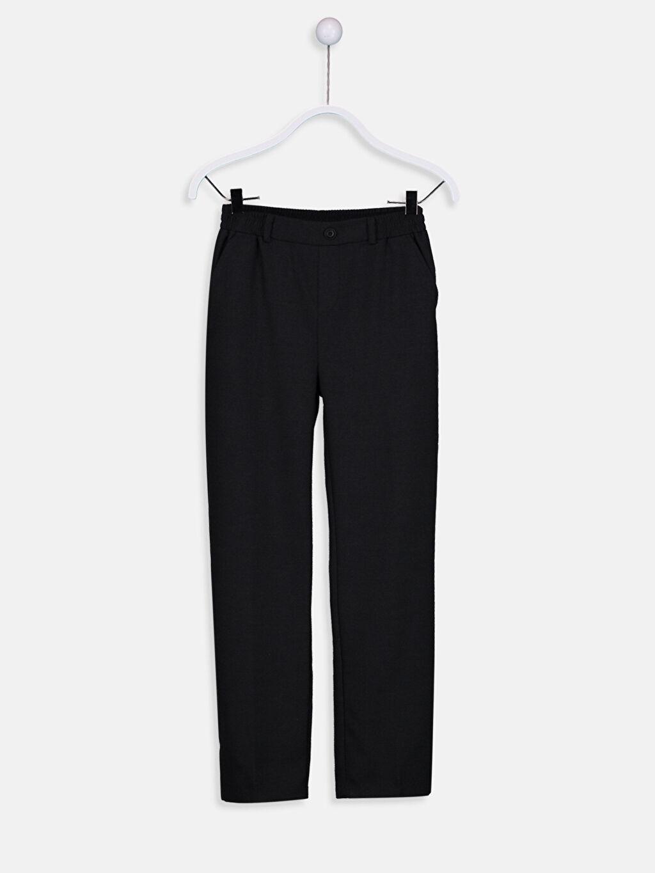 %67 Polyester %33 Viskon Aksesuarsız Standart Normal Bel Astarsız Pantolon Düz Gabardin Standart Kalıp Beli Lastikli Gabardin Pantolon